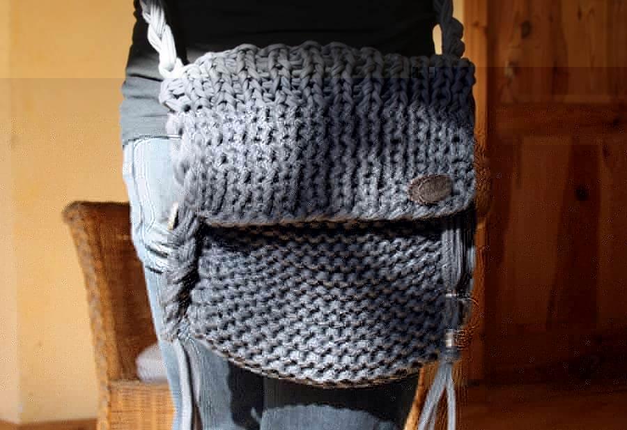 handtasche selber stricken aus textilo stripe textilgarn. Black Bedroom Furniture Sets. Home Design Ideas