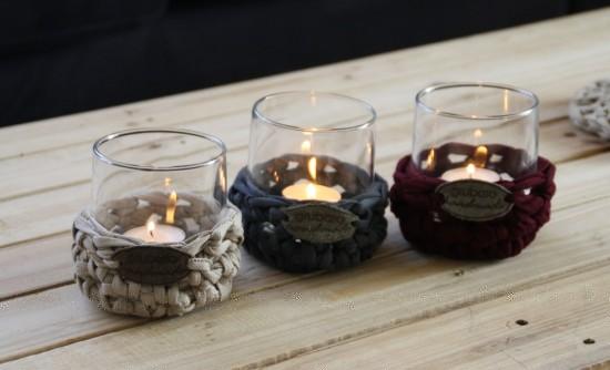 Drei Windlichter in Original-Textilo-Stripe Beige W, Grau W und Bordeaux W