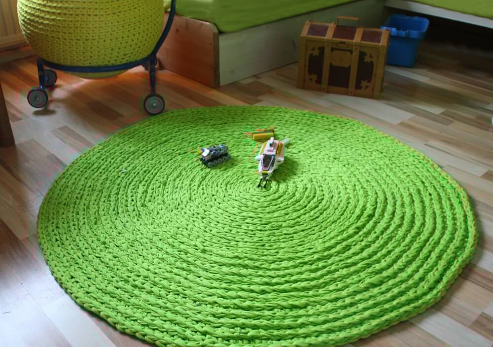 Häkelteppich Aus Textilo Stripe Textilgarn