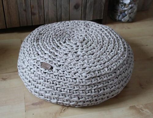 Bodenkissen aus Original Textilo Stripe Beige T