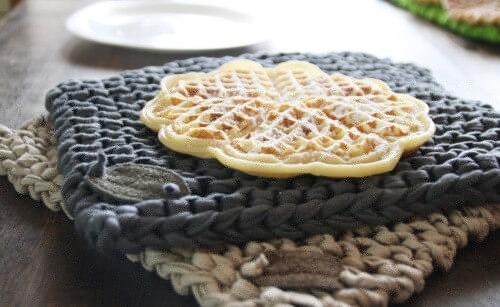 Textilgarn-Topflappen anthrazit&beige