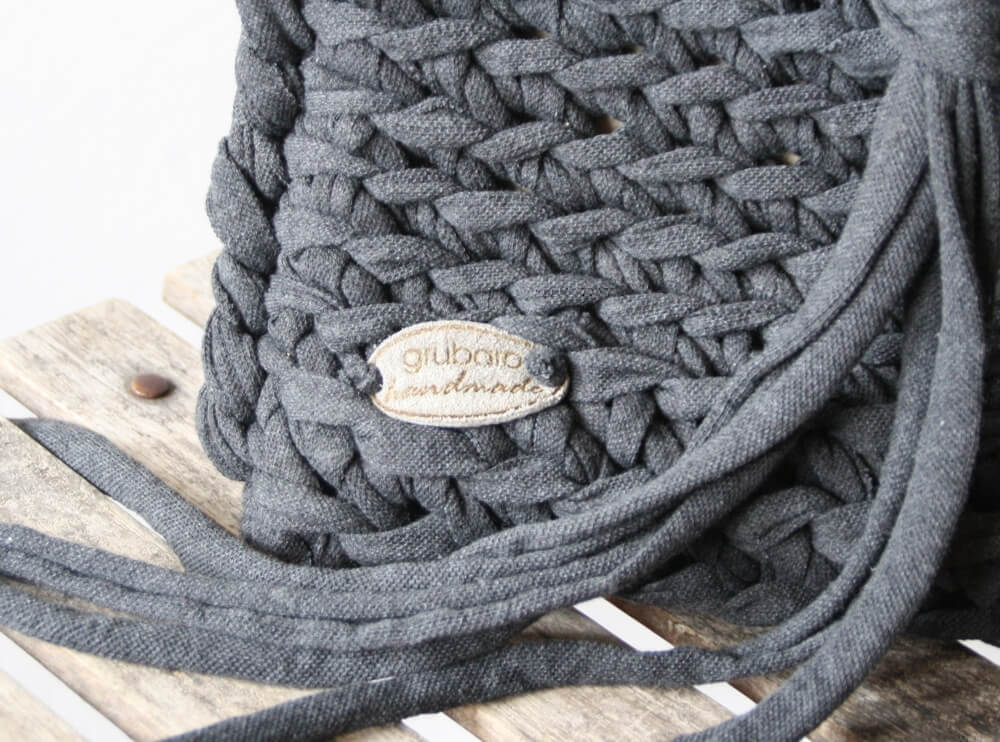 Gehäkelte Tasche mit Original Textilo Stripe Graphit W