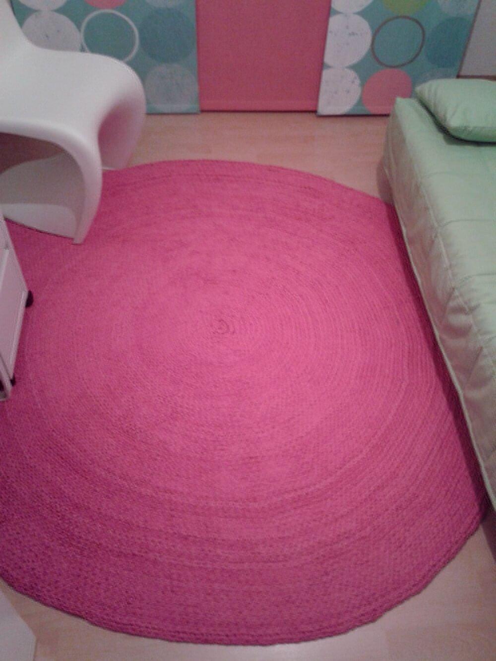 Runder Häkelteppich in Pink W
