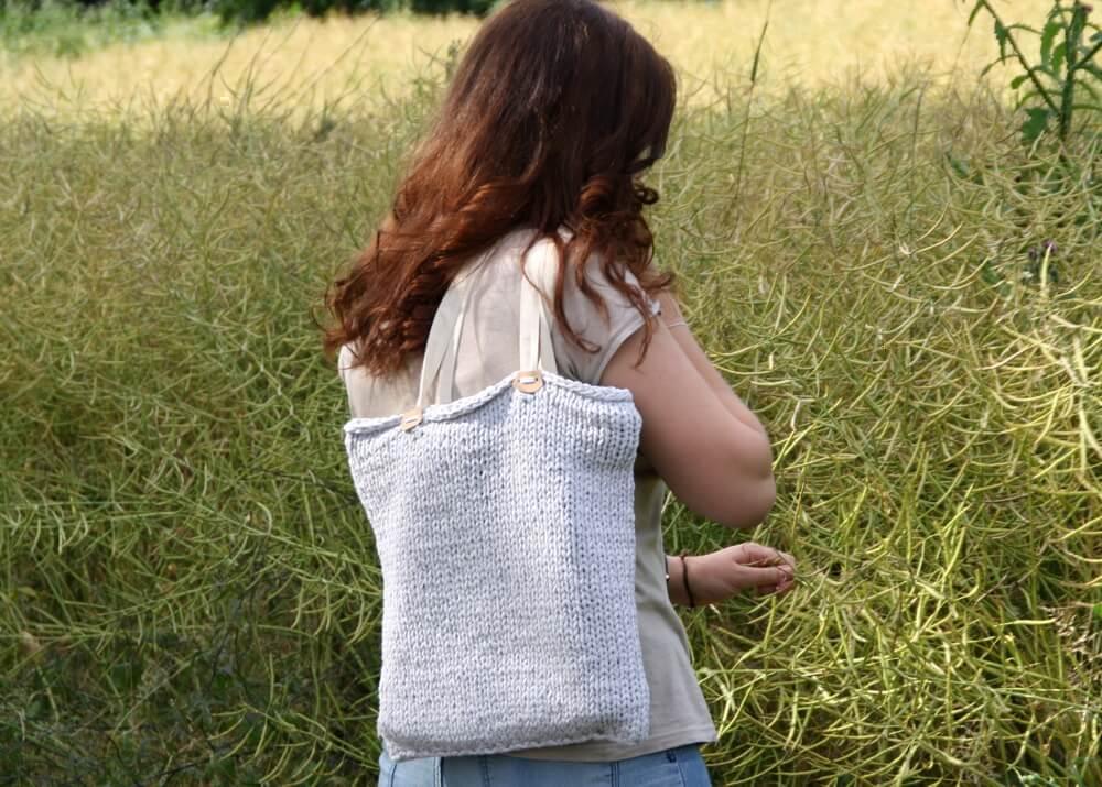 Stricktasche aus Bändchengarn XL